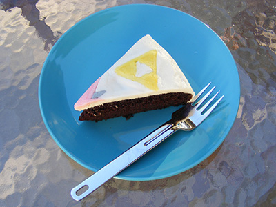 Wedding cake slice with Triforce