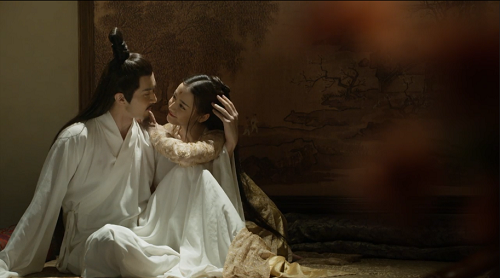 Screenshot of Fengjiu and Donghua as a married couple in the mortal realm