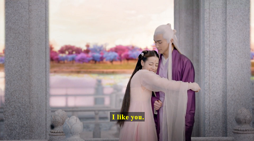 Screenshot of Fengjiu hugging Donghua and saying, 'I like you.'