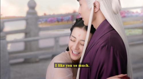 Screenshot of Fengjiu nuzzling Donghua and saying, 'I like you so much.'