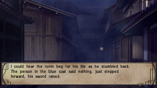 Picture of a Kyoto alley with the words, 'I could hear the ronin beg for his life as he stumbled back. The person in the blue coat said nothing, just stepped forward, his sword raised.'