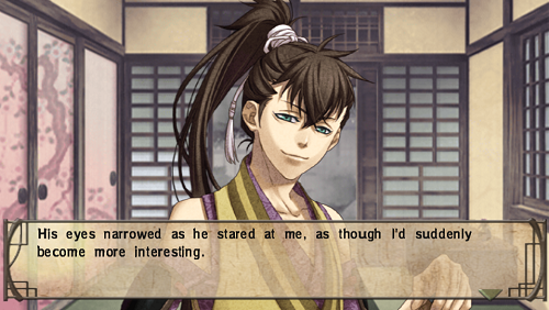 Picture of a Hakuoki character with the words, 'His eyes narrowed as he stared at me, as though I'd suddenly become more interesting.'