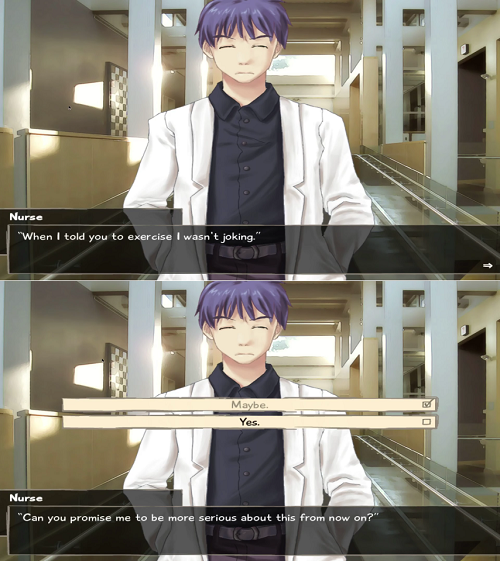 The school nurse asks the hero to be more serious about exercising in Katawa Shoujo