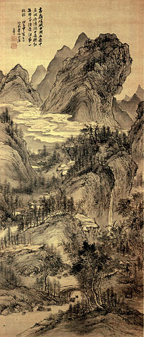 Autumn landscape on silk hanging scroll