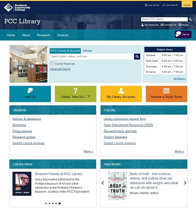 PCC Library website
