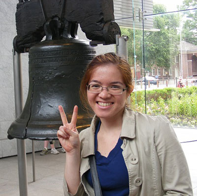 In front of the Liberty Bell