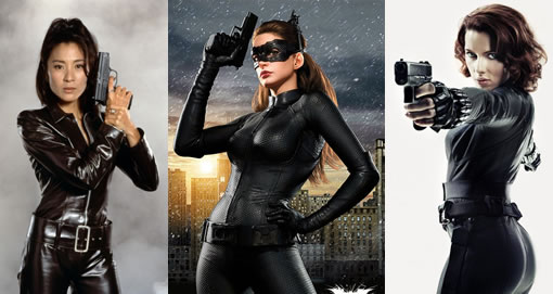 Promotional photos of women in skintight black costumes with guns