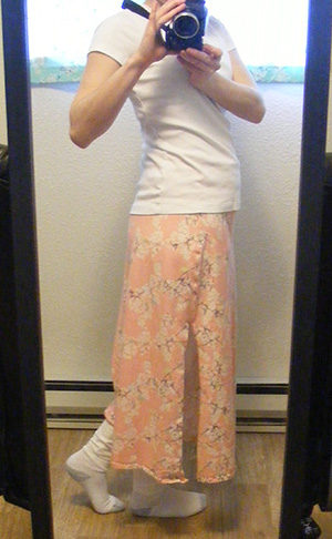 Yinghua Jersey Skirt - Side, in Mirror